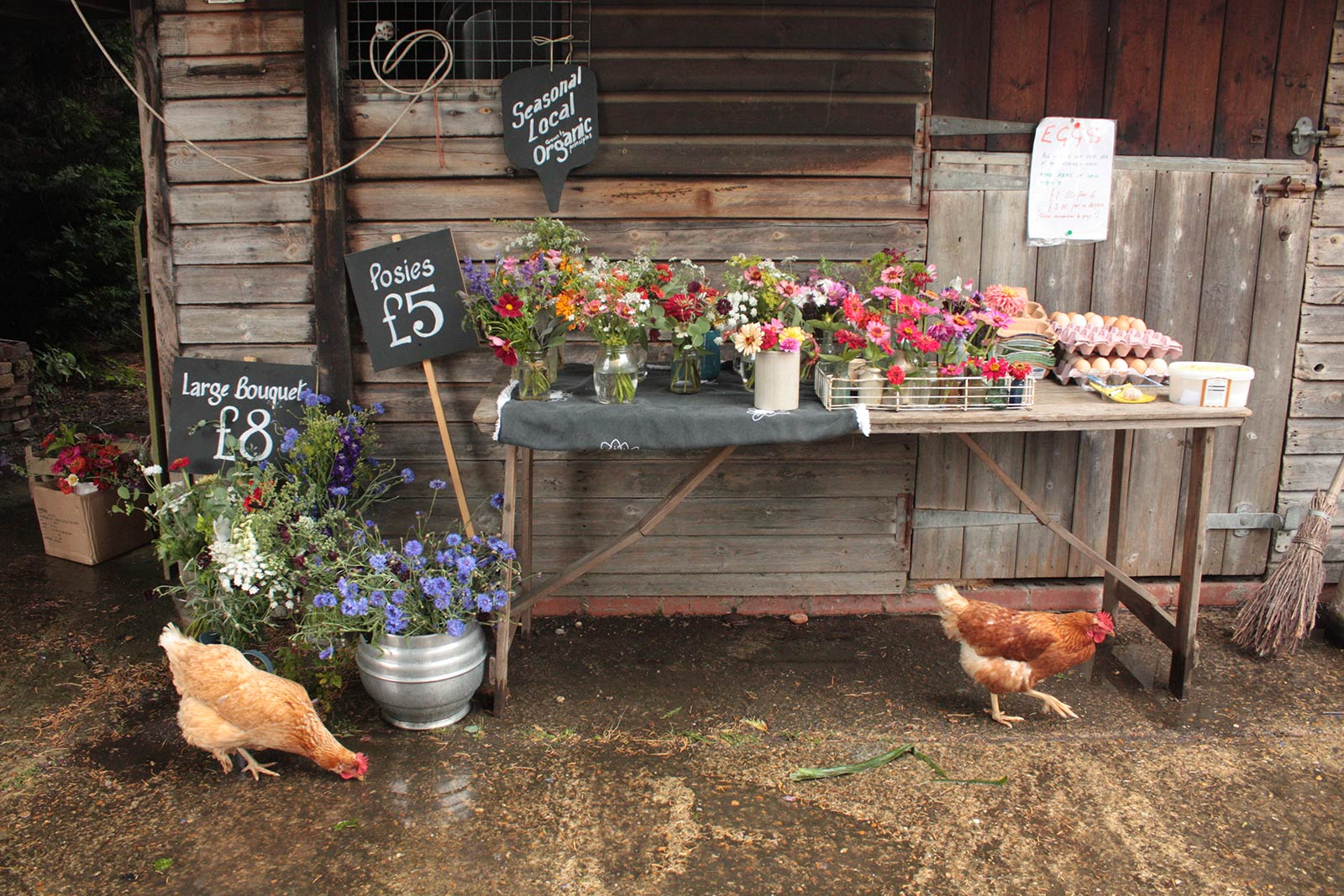 "Our first flower Stall ""The Chicken Shed"", at Cupsmiths, in association with Farnham Community Farm."